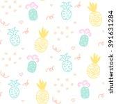baby pattern pastel pineapple... | Shutterstock .eps vector #391631284