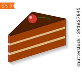 piece of chocolate icing cake ... | Shutterstock .eps vector #391637845