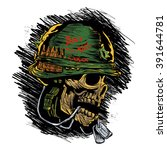 zombie with military helmet | Shutterstock .eps vector #391644781