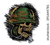 zombie with military helmet | Shutterstock .eps vector #391644781
