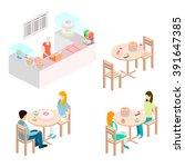 isometric interior of sweet... | Shutterstock .eps vector #391647385
