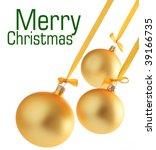yellow christmas glass balls on ... | Shutterstock . vector #39166735