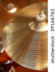 close-up of cymbals on a drum kit - stock photo