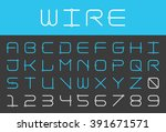 square futuristic alphabet and... | Shutterstock .eps vector #391671571