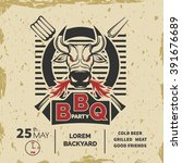 barbecue invitation card on the ...   Shutterstock .eps vector #391676689