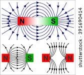 magnetism   magnetic lines of... | Shutterstock .eps vector #391690414
