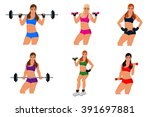 fitness woman  exercising ... | Shutterstock .eps vector #391697881