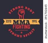 mma fighting logo  emblem  mma... | Shutterstock .eps vector #391702645