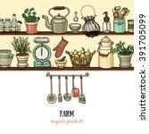 rustic kitchen banner. side... | Shutterstock .eps vector #391705099