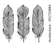 line art feather. brush set.... | Shutterstock .eps vector #391724884