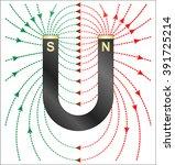magnetism   magnetic lines of... | Shutterstock .eps vector #391725214