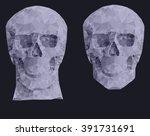 human red skull on a black... | Shutterstock .eps vector #391731691