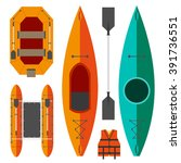 Kayak And Raft Boats On A Whit...