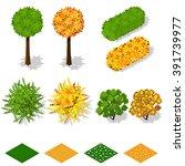 isometric trees  bushes  grass  ... | Shutterstock .eps vector #391739977