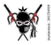 ninja zombie face  | Shutterstock .eps vector #391754959