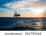 silhouette of a drilling rig | Shutterstock . vector #391759165