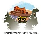 bucket wheel excavator and... | Shutterstock .eps vector #391760407