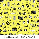 seamless pattern. punk rock ... | Shutterstock .eps vector #391772641