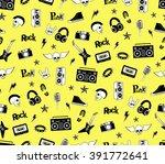 seamless pattern. punk rock ... | Shutterstock .eps vector #391772641