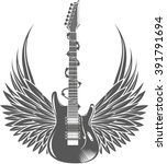 electric guitar with wings....   Shutterstock .eps vector #391791694