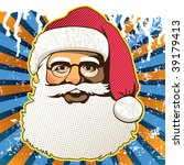 Retro santa claus face. Vector illustration. - stock vector