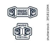 set of monochrome music themed...   Shutterstock .eps vector #391811044