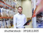 Small photo of wholesale, logistic, business, export and people concept - happy man or manager with clipboard at warehouse