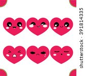 vector icon set. simple hearts... | Shutterstock .eps vector #391814335