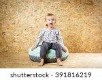 happy little girl 3 years old... | Shutterstock . vector #391816219
