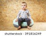 happy little girl 3 years old... | Shutterstock . vector #391816249