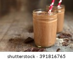 chocolate banana smoothie on a... | Shutterstock . vector #391816765