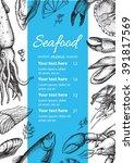vector vintage seafood... | Shutterstock .eps vector #391817569