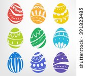 Set Of Easter Eggs With...