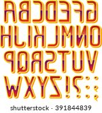 reflected english font. vector. ... | Shutterstock .eps vector #391844839