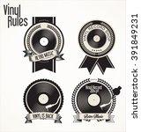 vinyl record shop badges... | Shutterstock .eps vector #391849231
