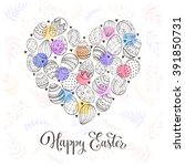 composition with easter eggs... | Shutterstock .eps vector #391850731