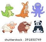 cute cartoon animals isolated... | Shutterstock .eps vector #391850749