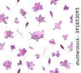 Small photo of Repeating blossoming pink spring flowers pattern, with two of them meeting in the center, studio photographed and isolated on absolute white