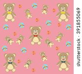 cute teddy bear and colored... | Shutterstock .eps vector #391855069