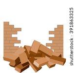 Broken Brick Wall With Bricks...