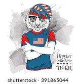 Illustration Of Tiger Hipster...