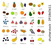 hand drawn fruits and berries... | Shutterstock .eps vector #391865611