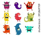 doodle monsters set. colorful...