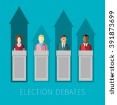 concept of election debates or... | Shutterstock .eps vector #391873699