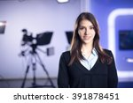 television presenter recording... | Shutterstock . vector #391878451