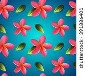 frangipani flowers seamless... | Shutterstock .eps vector #391886401