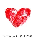 heart of fingerprints on white... | Shutterstock . vector #391910341