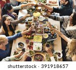 brunch choice crowd dining food ... | Shutterstock . vector #391918657