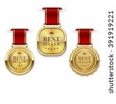 set of best seller golden label ... | Shutterstock .eps vector #391919221