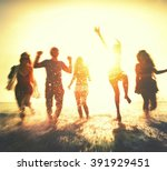 friendship freedom beach summer ... | Shutterstock . vector #391929451